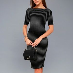 B&W Striped Bodycon Dress NWT